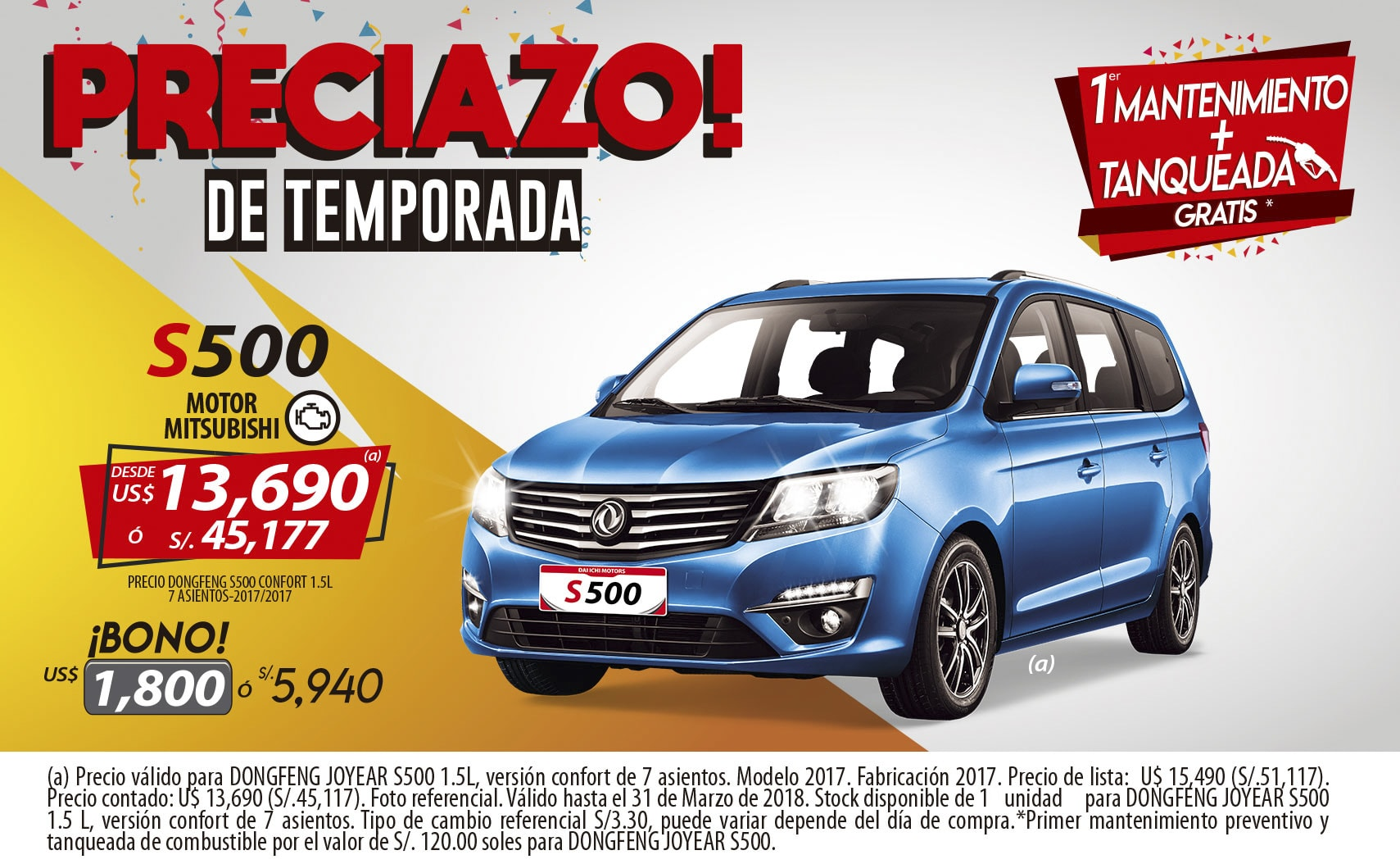 PROMOCION DONGFENG JOYEAR S500